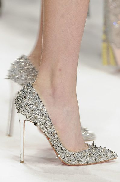 : Golden Shoes, Spikes, Louboutin Silver, Sparkle Sparkle, Holly Fulton, Christian Louboutin, High Heels, Sparkle Shoes, London Fashion Weeks