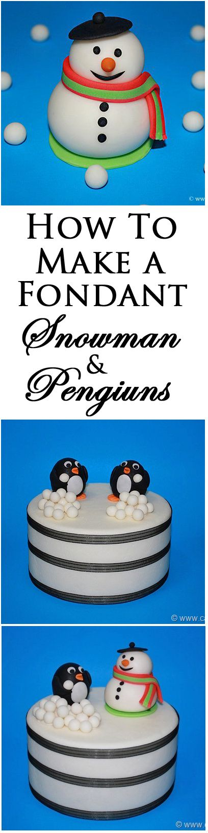 Learn how to make a FONDANT PENGUIN and SNOWMAN. These little cuties are edible and the perfect winter cake toppers. From cakewhiz.com
