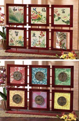 Asian Home Decor Reversible Tabletop Framed Art Memories