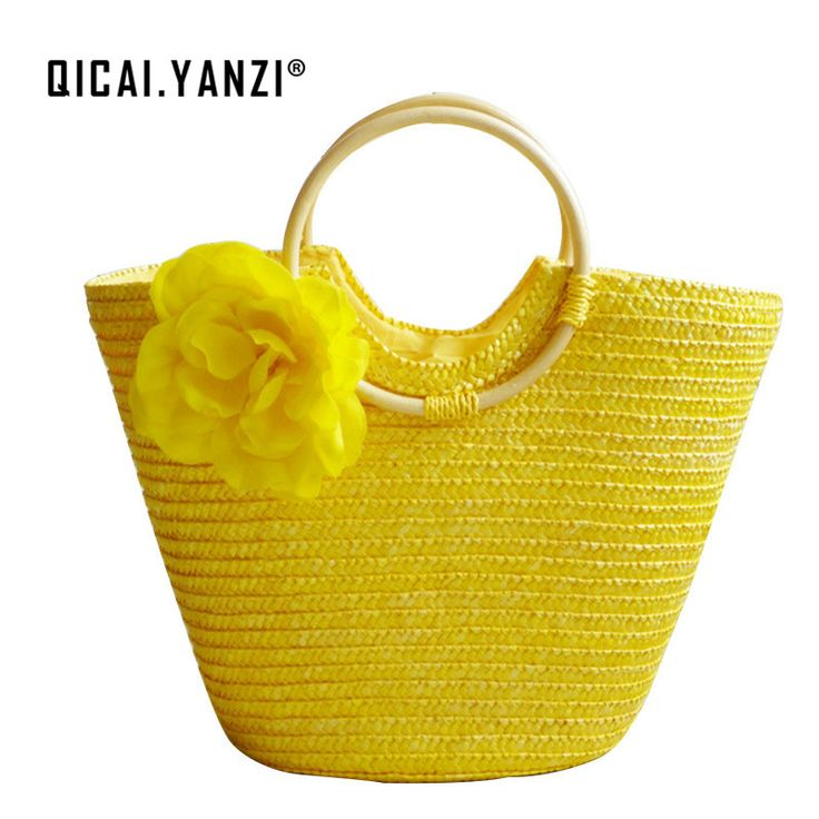 QICAIYANZI Lady Beach Women Flower Handbag 2017 Bohemian Female Straw Summer Handbags Bolsas Mujer Holiday Travel Tote Bag P603 //Price: $11.36 & FREE Shipping //     #hashtag3