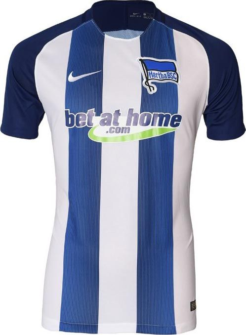 The Nike Hertha BSC 16-17 home kit introduces a smart design in white and navy.