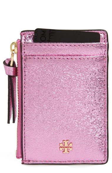 Tory Burch Crinkle Metallic Leather Card Case available at #Nordstrom