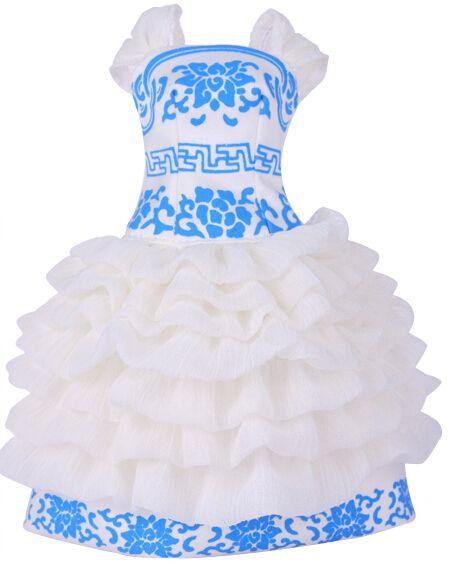 Новое Обновление Мода Kurhn Куклы Синий и Белый Фарфор Платье Аксессуары Bonecas Для Куклы для Девочек Kurhn Toys для Детей Подарки