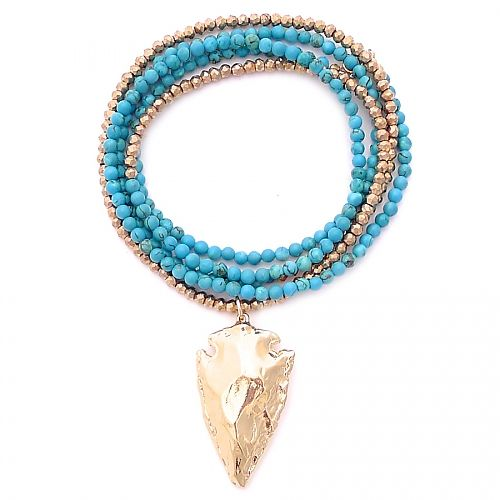 turquoise & gold arrowhead - Gold & Gray