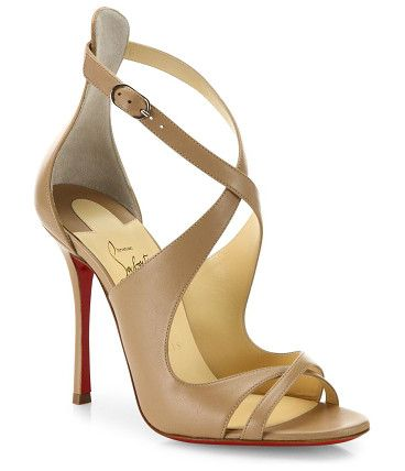 "malefissima leather sandals by Christian Louboutin. Sleek crisscross sandals crafted in smooth leather. Self-covered heel, 4"" (100mm).Leather upper. Open toe. Adjustable..."