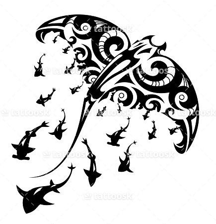 SBink Tribal Manta Ray Tattoo with Sharks ❥❥❥ https://tattoosk.com/tribal-manta-ray-tattoo#7