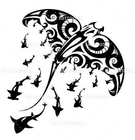 SBink Tribal Manta Ray Tattoo with Sharks ❥❥❥ https://tattoosk.com/tribal-manta-ray-tattoo#7