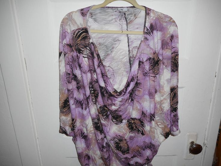 Worthington Rayon Abstract Floral Lilac Beige Batwing Blouse Shirt Top XL Macy's #Worthington #Blouse