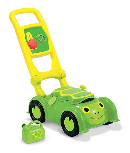 "This cleverly designed plastic lawnmower has lots of ways to interest little ones: a storage compartment under the shell, a plastic fuel can to ""pour,"" clicking dials and a pull-cord that makes a motor sound!"