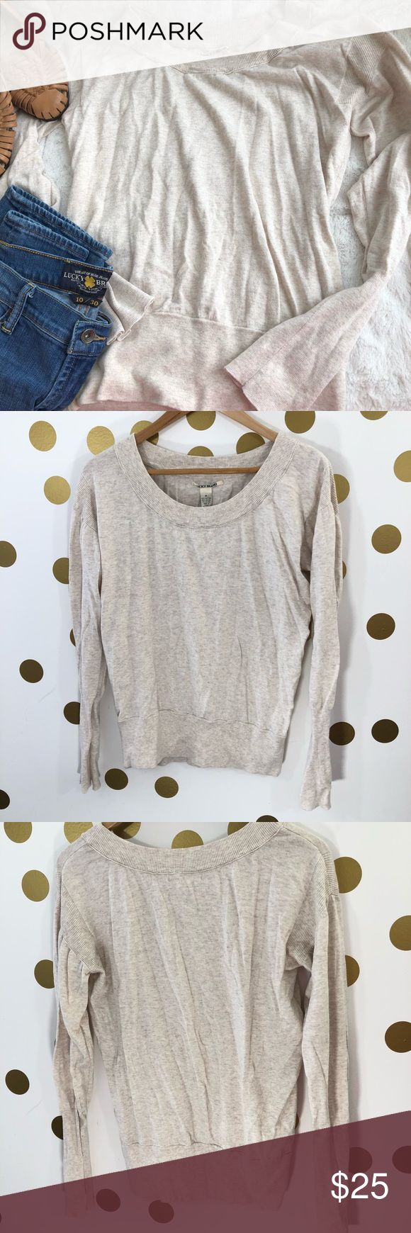 Lucky Brand Cream Oatmeal Cotton Blend Sweater Lucky Brand Cream Oatmeal Cotton Blend Sweater  Super soft, looks like new- this Lucky Brand sweater is perfect for heading into spring, it's a light knit in a light, warm tone that will not look out of place going into the chilly spring weather.  Unique rib detail at shoulders gives sweater character. Lucky Brand Sweaters Crew & Scoop Necks