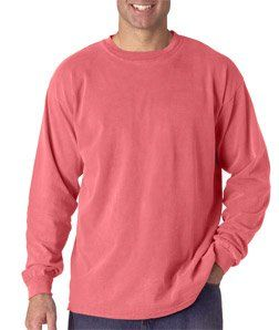 Chouinard Adult Cotton Long-Sleeve Tee - Watermelon PgmDye - XL. 6014 Chouinard Adult Heavyweight Long-Sleeve Tee Ring-spun for softness and dyed to perfection. Coordinate: Ladies' 3014, Youth 3483 Preshrunk 100% ring-spun cotton 6.1-oz. Ribbed collar Shoulder-to-shoulder taping Double-needle neck, sleeve, bottom hems Pigment-dyed Sizes: S-2XL.