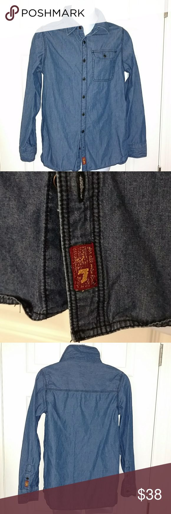 7 for all mankind denim shirt Long sleeved, button up denim shirt. One front pocket with flap. Could be for girls or boys. In great shape. Size L. 7 For All Mankind Shirts & Tops Button Down Shirts