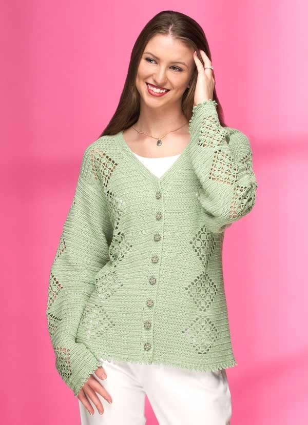 *Free Crochet Pattern: Lacy Diamonds Cardigan | Crochet ...