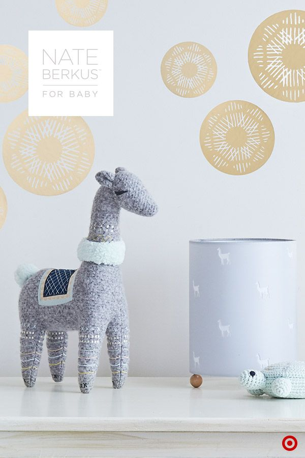 Complete your baby's nursery by sprinkling in Nate Berkus's sophisticated nursery decor, available only at Target. This collection is easily mixed and matched to create a curated look you'll love. Cozy-soft blankets and sweet toys, including a crochet turtle rattle and llama plush, are nursery and cuddling must-haves. And, you'll want a night-light to add a soft glow to the room. Check out the llama cut-out bedtime light. It provides just enough glow for easy diaper changes and peaceful…