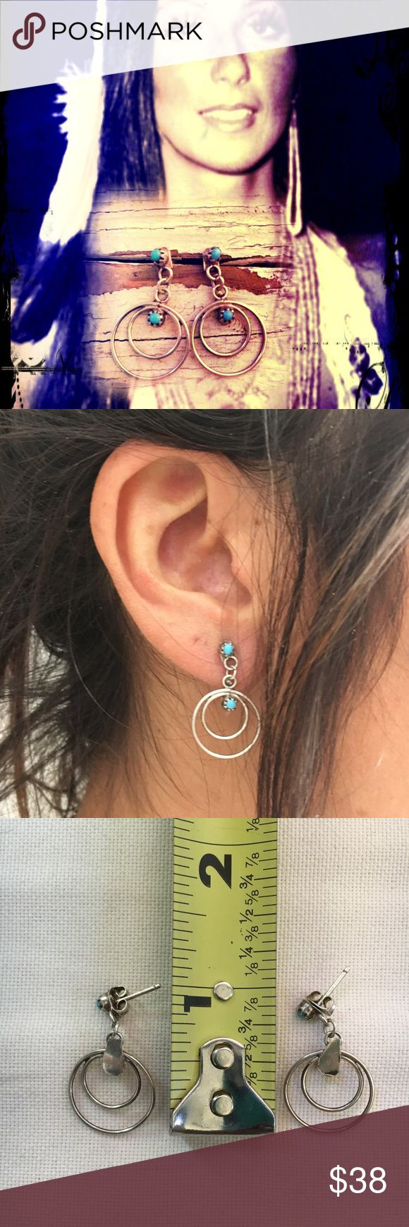 Vintage Turquoise/Sterling Silver Earrings Perfect sized post earrings.. lightweight old pawn vintage No trades Navajo Jewelry Earrings