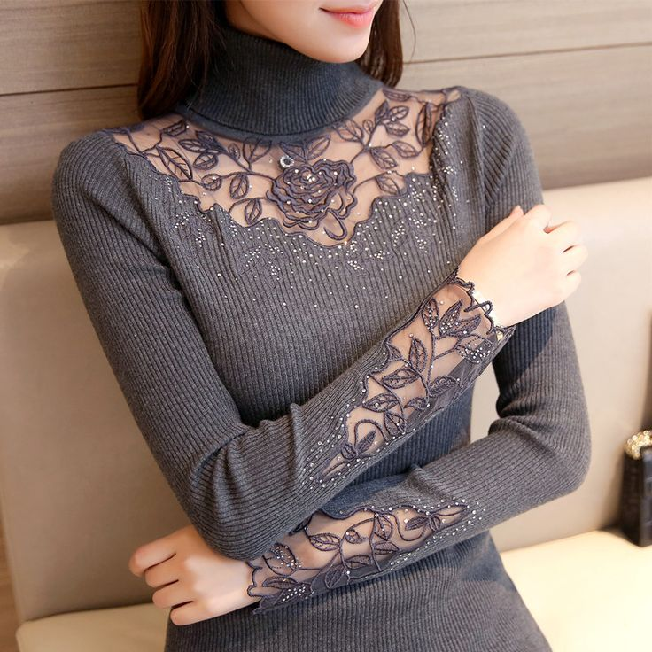2017 Autumn Winter Women Sweaters and Pullovers Turtleneck Lace Crochet Slim Knitting Sueter Mujer Pull Femme. Click visit to buy