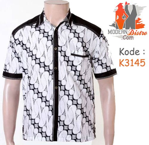 Jual Kemeja Batik Lengan Pendek Kombinasi Putih K3145   ModernDistro.com