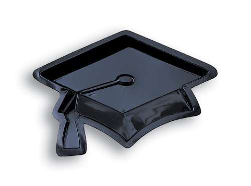 Dont get caught without our Graduation Caps Plastic Serving Trays
