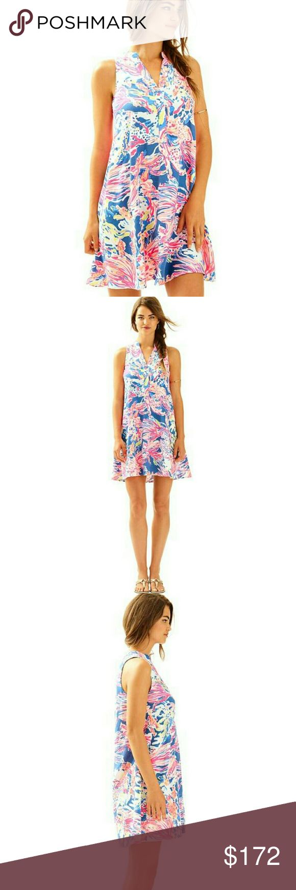 """NWT, Lilly Pulitzer Anne Dress in Indigo Enjoy the salty sea breeze in the printed Anne Dress. This trapeze dress has a front placket detail, and is great for a day spent enjoying time with friends outdoors.  Trapeze Dress With Front Placket Detail. 19"""" From Natural Waist To Hem. Textured Rayon - Print (100% Rayon). Dry Clean Only. Imported. Print is Sunken Treasure. Lilly Pulitzer Dresses"""