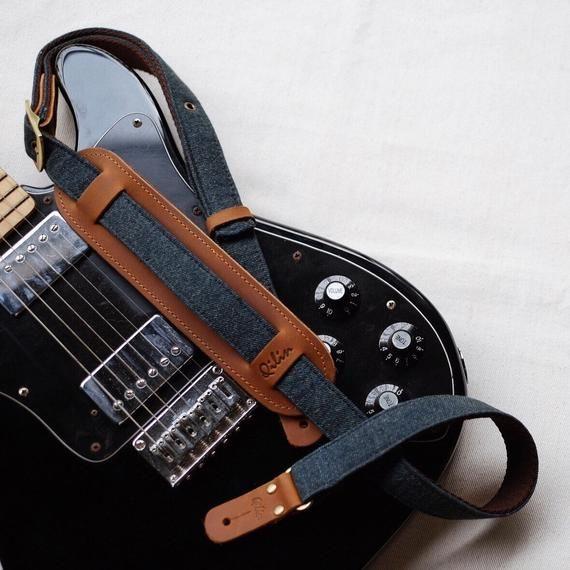Denim Vintage Guitarstrap Flower Strap Design Genuineleather Handmade Fabric Instrumentstrap Qili Guitar Strap Leather Guitar Straps Black Telecaster