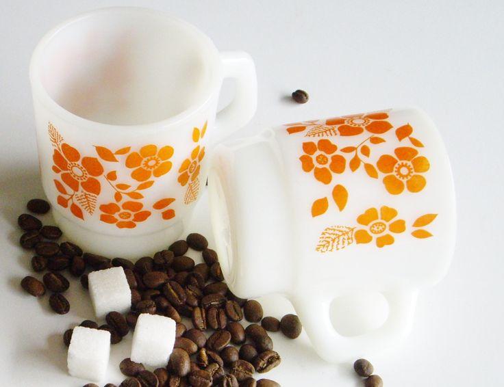 Vintage Milk Glass, Orange Flowers, Stackable Mugs, Anchor Hocking, Set of 2, White and Orange, Mugs, Mid Century, Mug Set, Cottage, 1960s by Vintagerous on Etsy