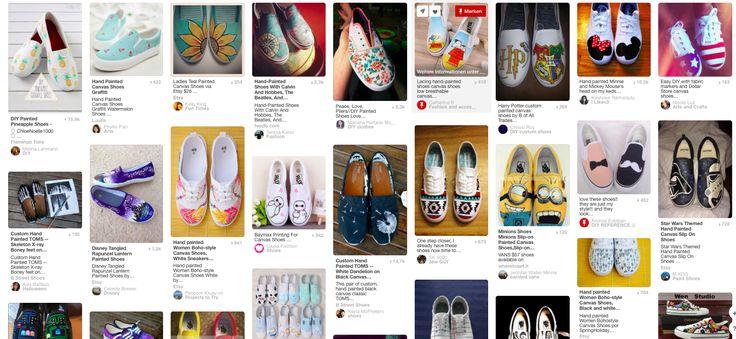 """LINK zu PINTEREST BILDERN """"gestrichene Leinwände"""" -  Schuhe aus Leinen, bemalt"""