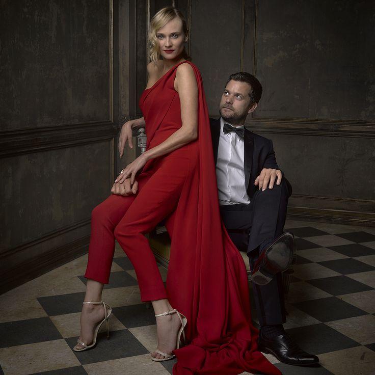Diane Kruger and Joshua Jackson at Mark Seliger's portrait studio, Vanity Fair's 2015 Oscar Party