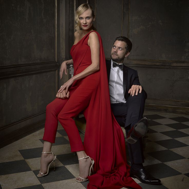 Diane Kruger and Joshua Jackson at Mark Seliger's portrait studio, Vanity Fair's 2015 Oscar Party