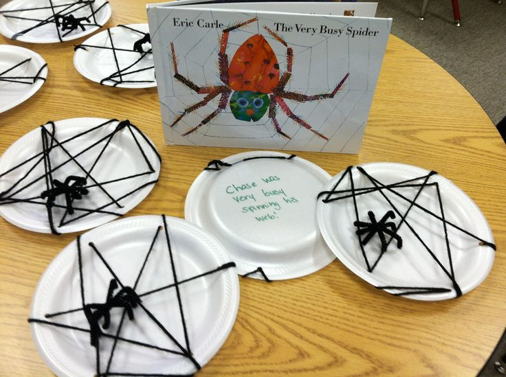 """Eric Carle The Very Busy Spider Halloween activity!  After reading and discussing the story as well as learning about spiders, we""""spun"""" webs.  Hole punches in paper plates, black yarn for lacing, pipe cleaner spiders!  The kids loved it!  On the back I wrote, """"----- was very busy spinning his/ her web"""" just like in the book. They're now all hanging from our classroom ceiling."""