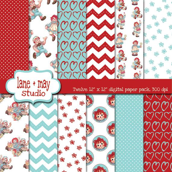 raggedy ann red and aqua digital scrapbook papers by laneandmay, $7.50