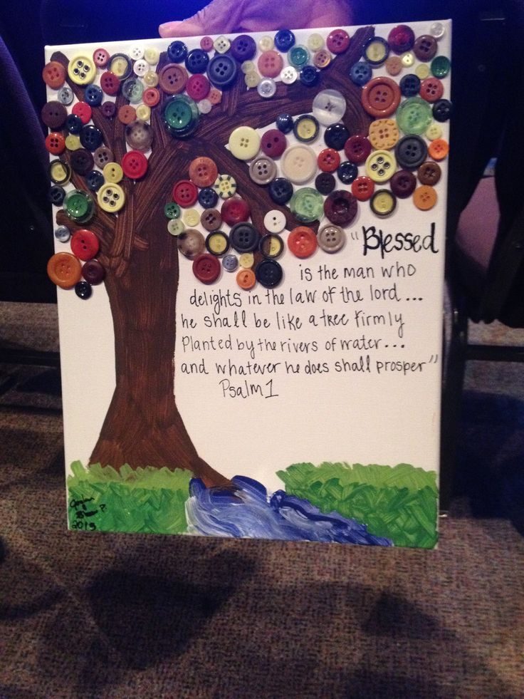 Psalms 1 diy button tree canvas :) pastors bday present ...