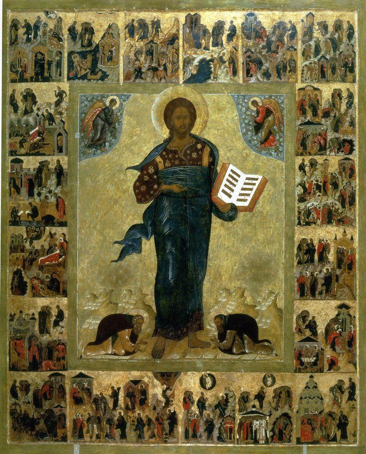 Спас Смоленский с припадающими преподобными Сергием и Варлаамом (с притчами) XVI