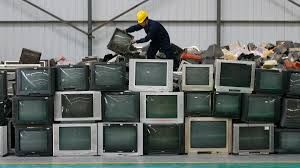 this is a bunch of televisions ready to be sent to china #hurtingtheeniroment