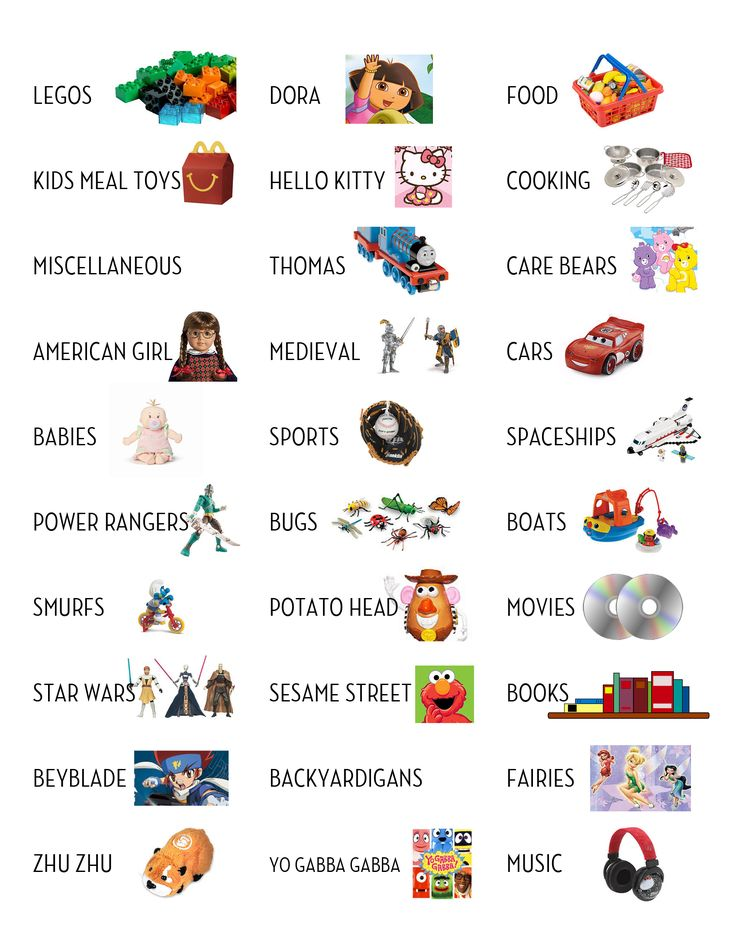 3 pages of labels with toys kids really have