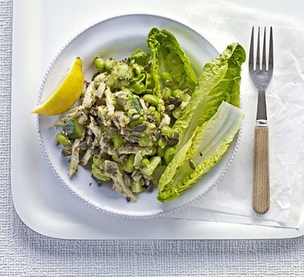 Vitality chicken salad with avocado dressing A super-green, healthy mix of soya beans, cucumber, avocado and Little Gem lettuce - topped with lean shredded chicken breast