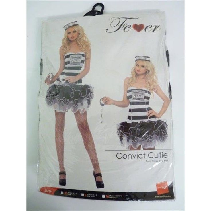 Women's Convict Cutie Costume - Fancy Dress Fever Ladies Prisoner Outfit Inmate