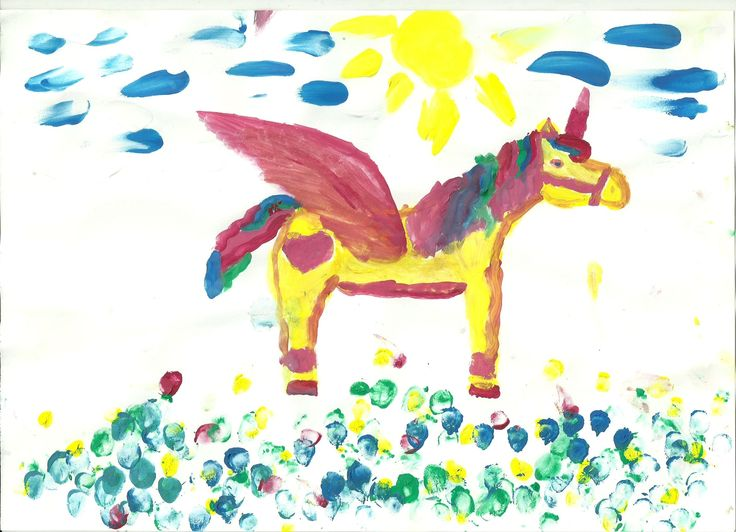 Unicorn, partly painted with fingertip Nora (7)
