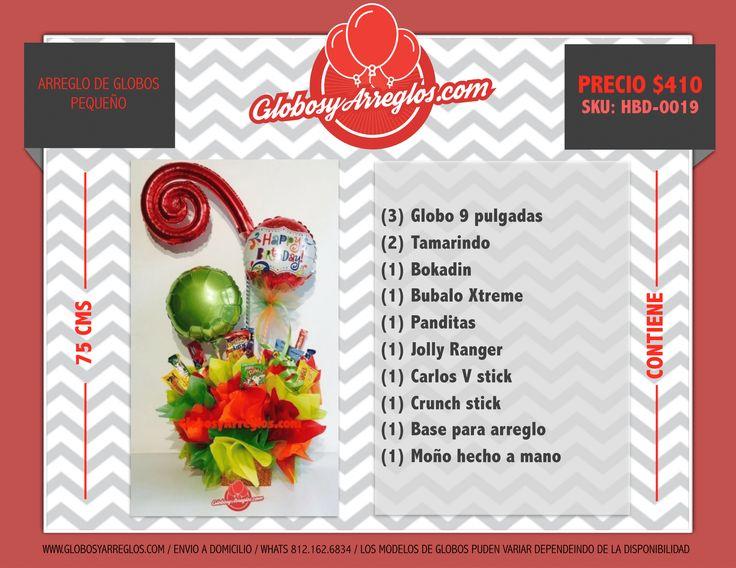 http://globosyarreglos.com/regalo-cumpleanos/regalo-economico-monterrey  Arreglo de globos pequeño, Detalle pequeño de cumpleaños, Regalo de cumple para amigo de oficina, Arreglo de Globos y dulces para caballero, arreglo de globos monterrey