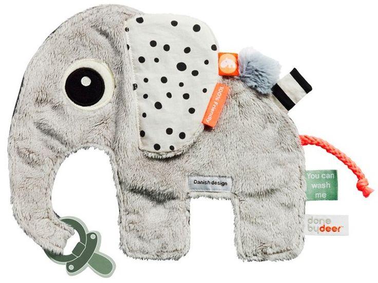 Done by Deer Schmusetuch Elphee. Babys bester Freund! Süß und weich ist Elefant Elphee als Schmusetuch. Mit Schnullerhalter und Fahnen. 100% Baumwolle.