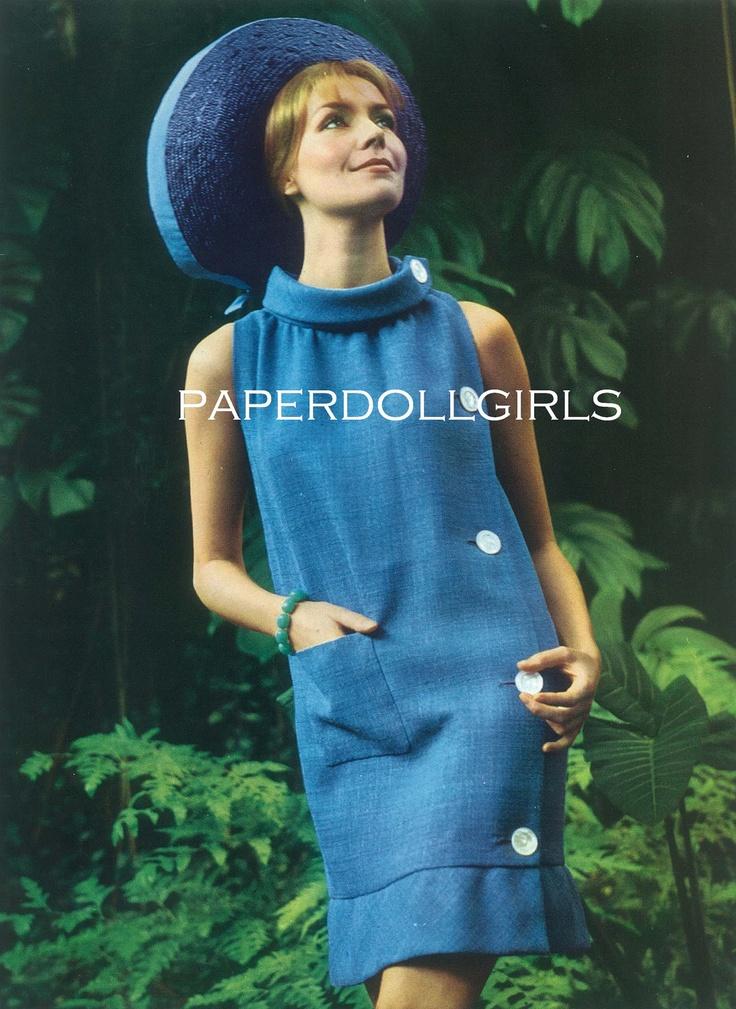 L'Officiel de la Couture et de la Mode de Paris 1965 Magazine Advertisement Pierre Cardin Bright Blue Dress Hat