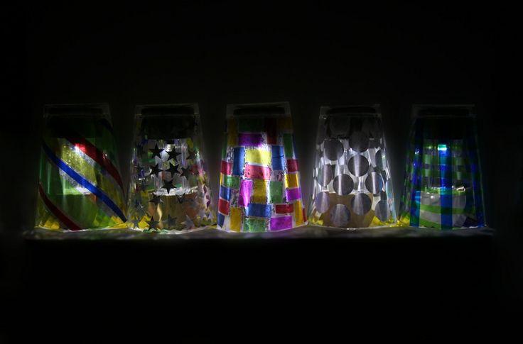 Mosaic Solar Lights using plastic cups