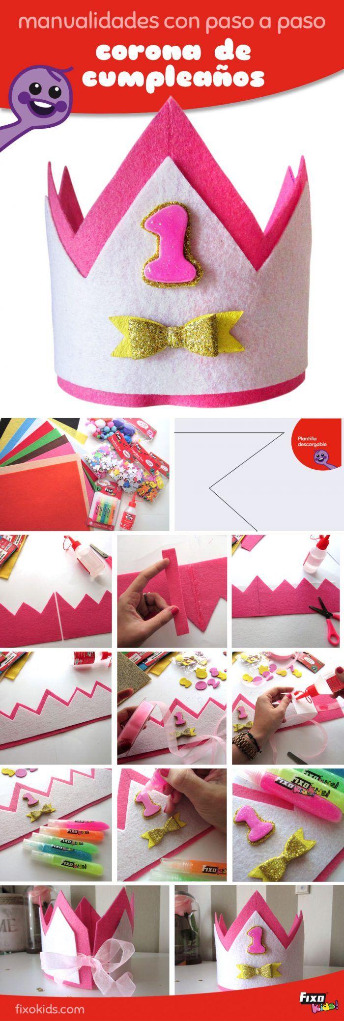 Ideas para cumpleaños: Cómo hacer coronas de cumpleaños con fieltro. manualidades con fieltro paso a paso. FixoKids. Diy. Handmade. Manualidades para fiestas.
