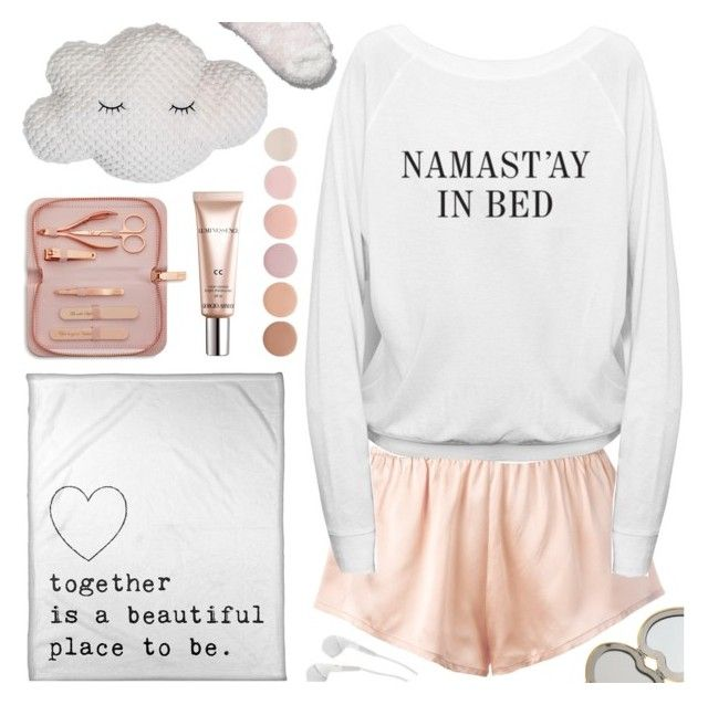 """""""Sleep In: Lazy Day"""" by deepwinter ❤ liked on Polyvore featuring Nordstrom, Aerie, Asceno, Giorgio Armani, Ted Baker, Deborah Lippmann and LazyDay"""