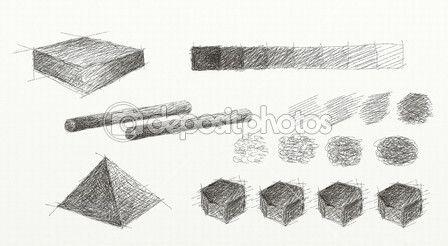 Desenho de luz e sombra para uma esfera, círculo, triângulo, hexágono, cilindro e uma praça de mão — Imagem de Stock #28115849