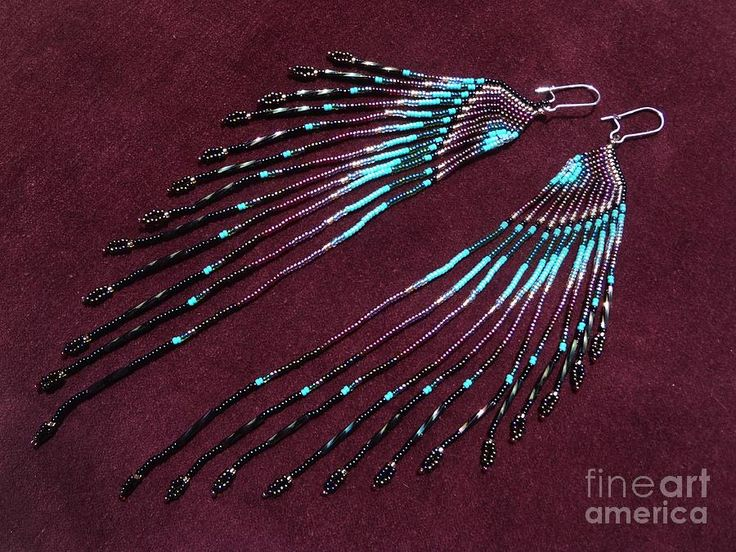 native american beaded earrings tutorial | Native American Inspired Seed Bead Long Earrings Jewelry