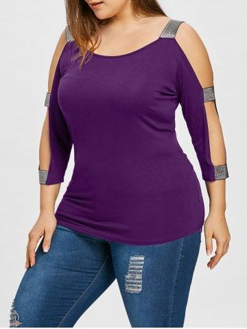 9a6decafb8406 Shop for Violet 2xl Plus Size Cold Shoulder T-shirt online at  16.13 and  discover fashion at RoseGal.com Mobile