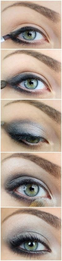 Silver eye makeup (site has so many pretty eye makeup ideas) ...but with gold and dark brown