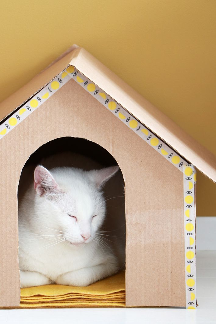 MY ATTIC for STUDIO by IKEA / IKEA Hack / World Cat Day / Cardboard cat house / diy www.entermyattic.com