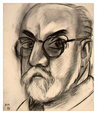 'Self Portrait', 1937 (charcoal on paper) Henri Matisse, one of the founders of Fauvism. This link has some of his notes, etc.
