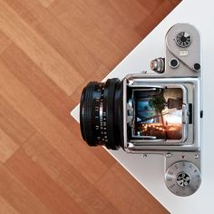 The waist-level viewfinder on a Pentacon six TL camera. Be still, our heart.